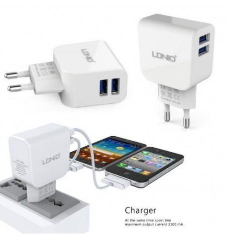Сетевое зарядное устройство DL-AC56 2 USB (2,1A), LDNIO without logo