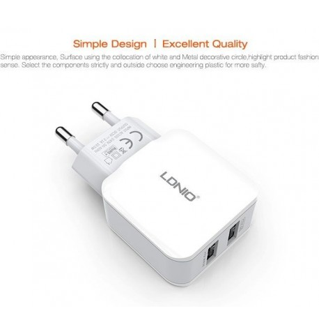 DL-2202 USB Сетевое зарядное устройство (2.1 A)+lightning cable, LDNIO