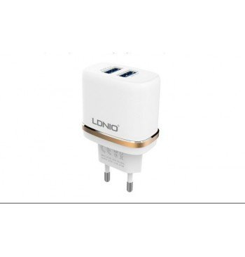 DL-AC52 2 USB Сетевое зарядное устройство 2.4 A,+ Lightning USB cable LDNIO
