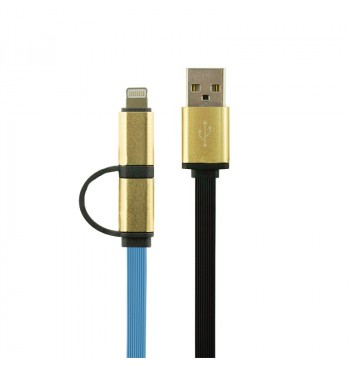 Кабель Gelius Gold Edition Dual Flat MicroUSB/iPhone 5/6 Blue