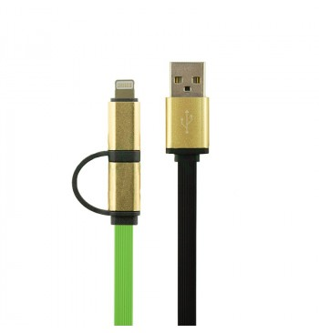 Кабель Gelius Gold Edition Dual Flat MicroUSB/iPhone 5/6 Green