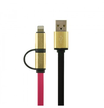 Кабель Gelius Gold Edition Dual Flat MicroUSB/iPhone 5/6 Pink