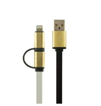 Кабель Gelius Gold Edition Dual Flat MicroUSB/iPhone 5/6 White
